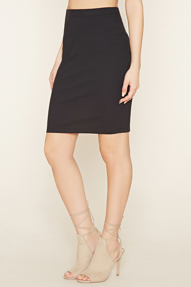 forever 21 bodycon pencil skirt in black lyst
