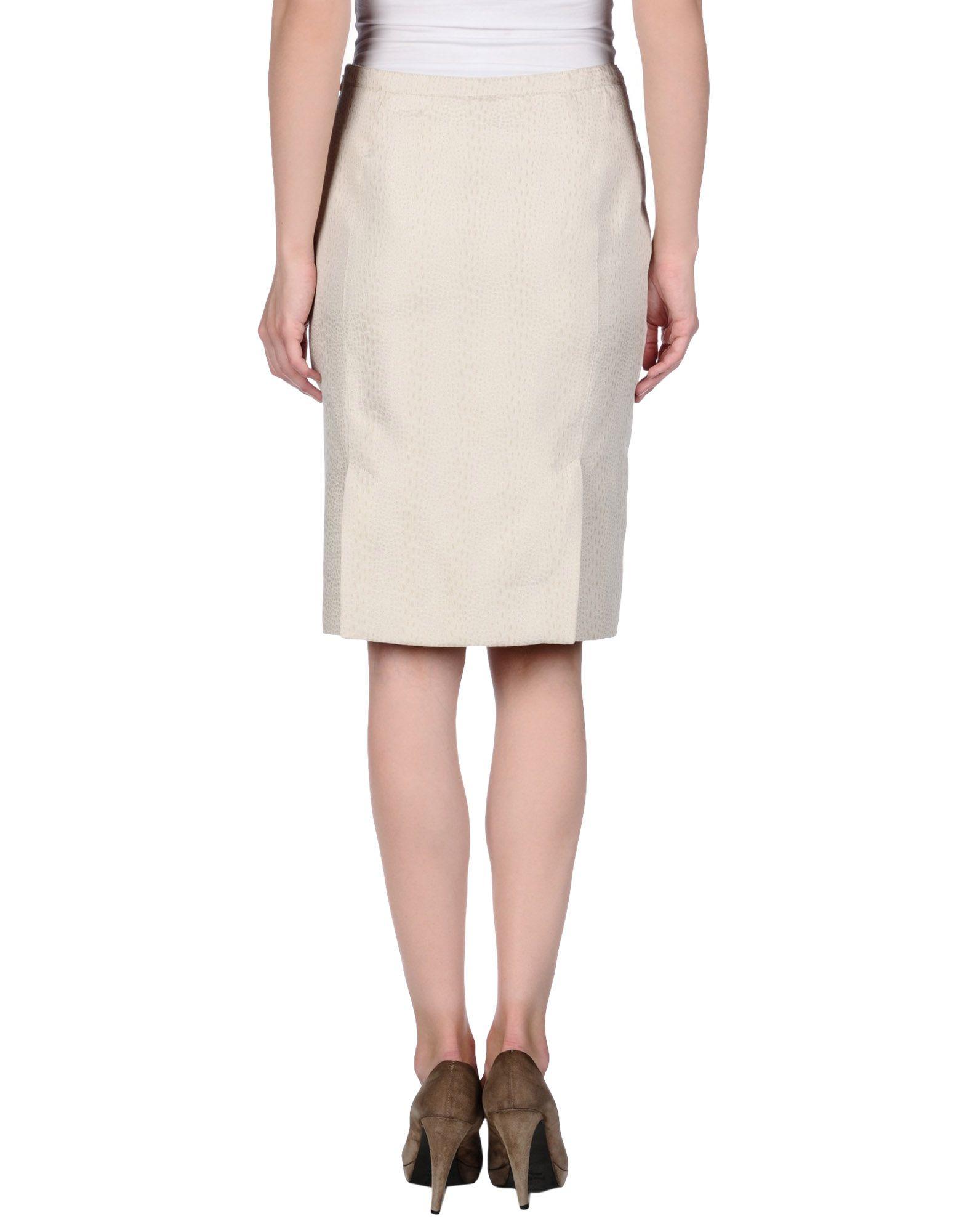 armani knee length skirt in gray light grey lyst