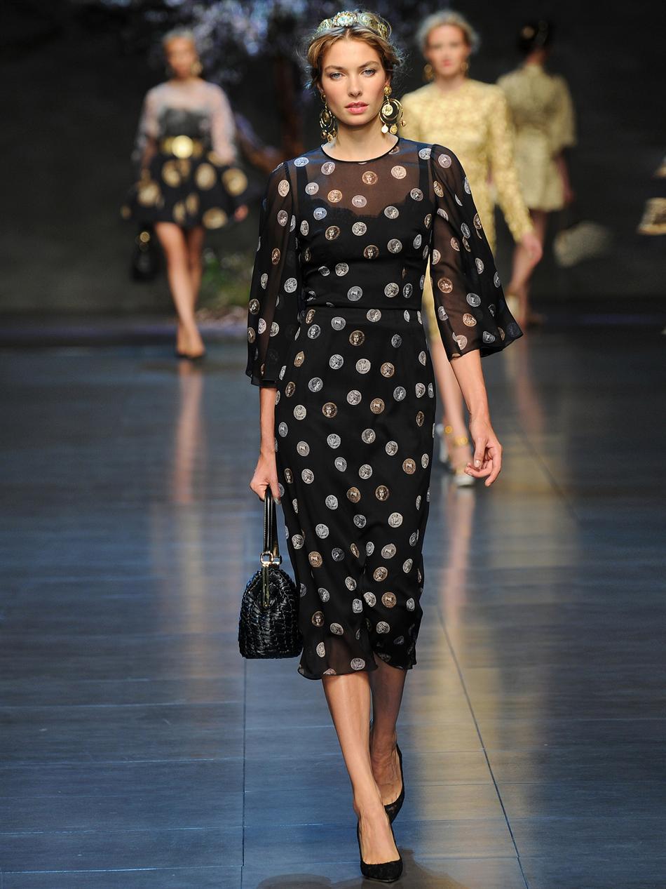 Dolce Amp Gabbana Coinprint Silkchiffon Dress In Black Lyst