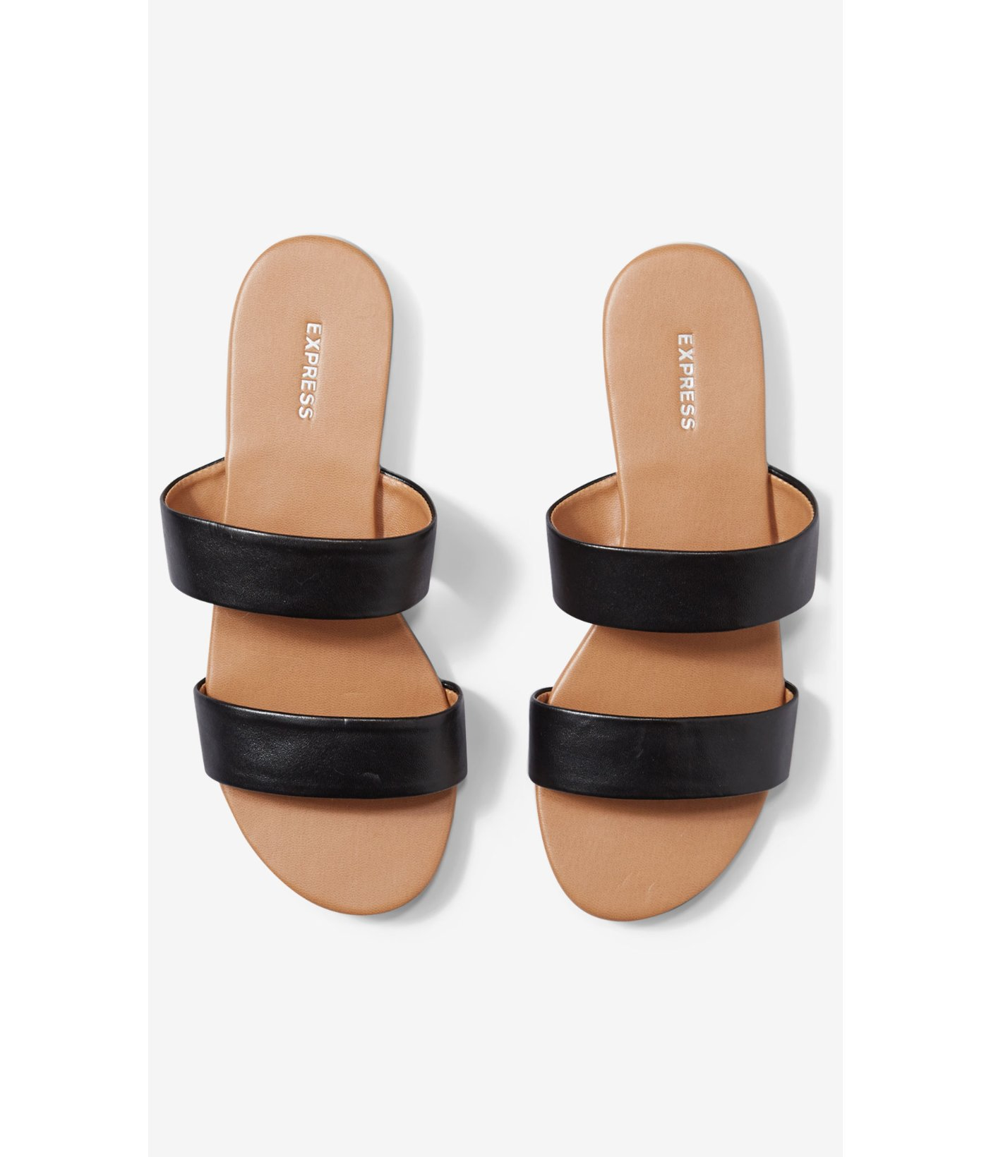 Lyst Express Two Strap Slide Sandals In Black
