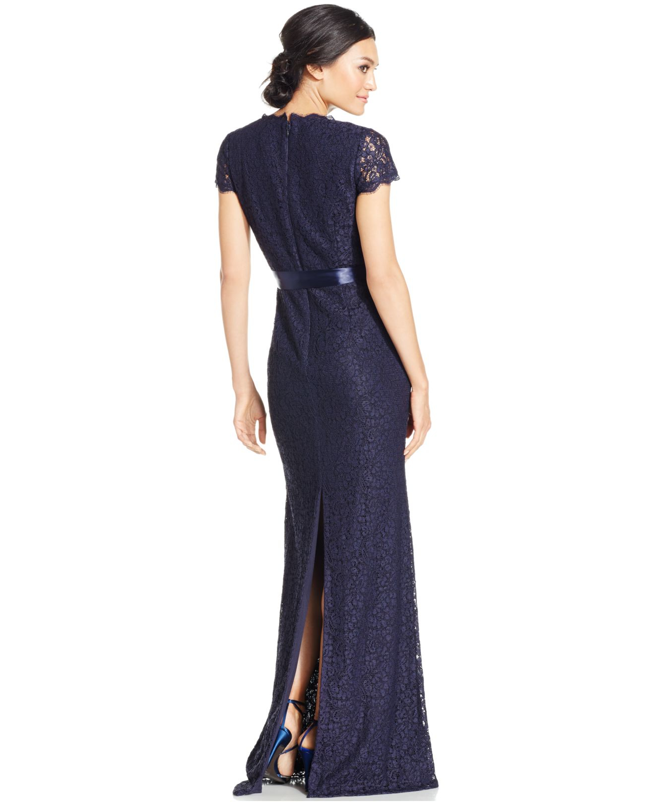 Lyst - Adrianna Papell Cap-sleeve Lace Gown in Blue