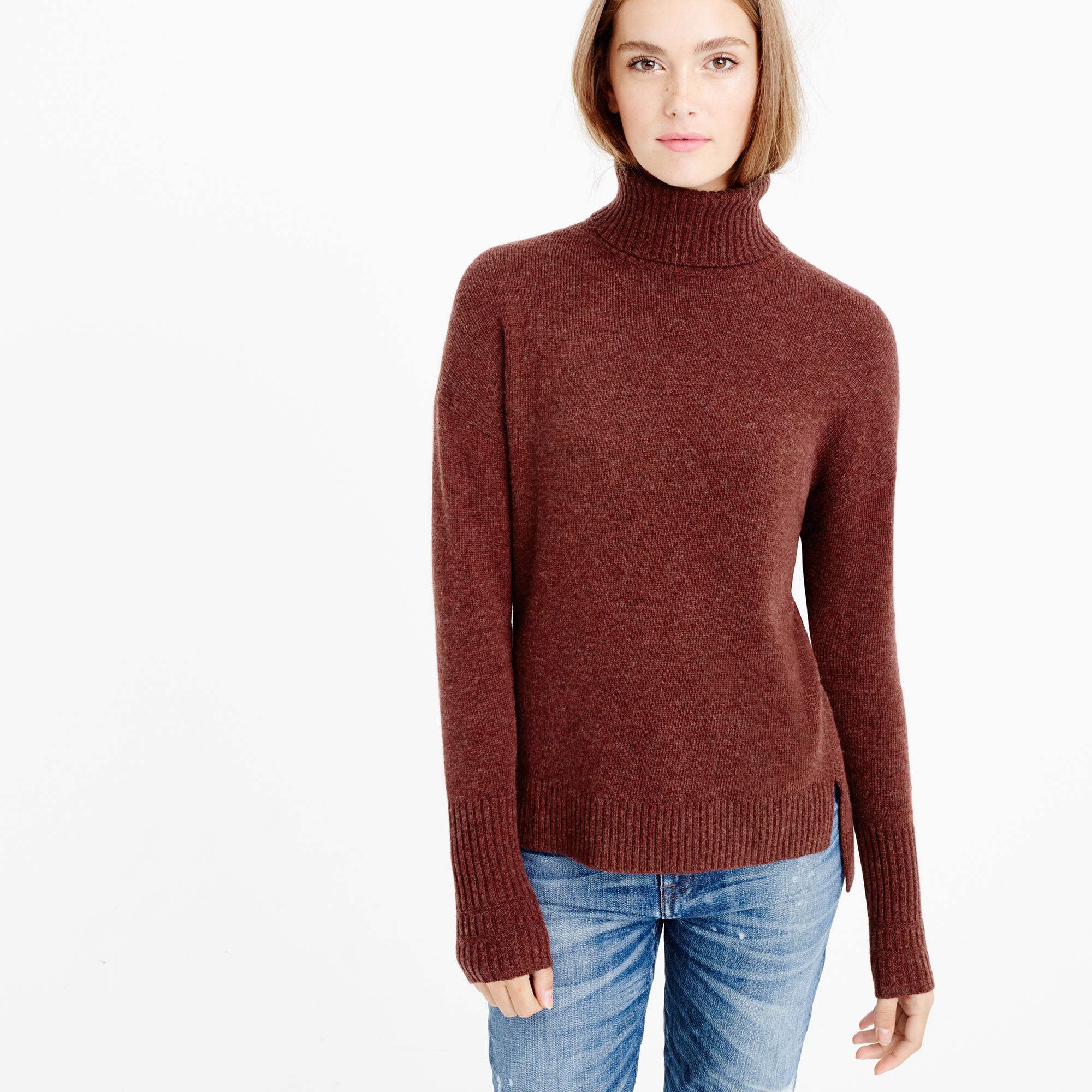 J.crew Relaxed Wool Turtleneck Sweater With Rib Trim in Brown (hthr mahogany) | Lyst