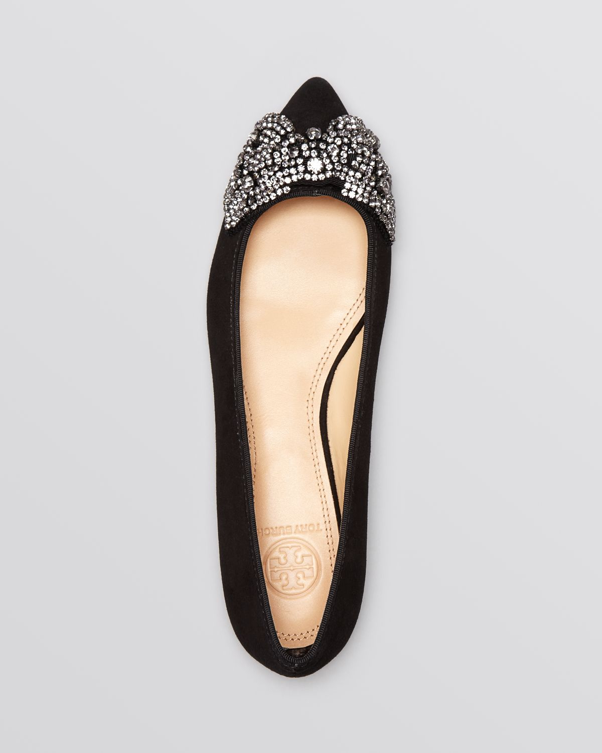 8cbb97de768 ... new style lyst tory burch pointed toe flats vanessa crystal bow in blue  7013a 14cab ...