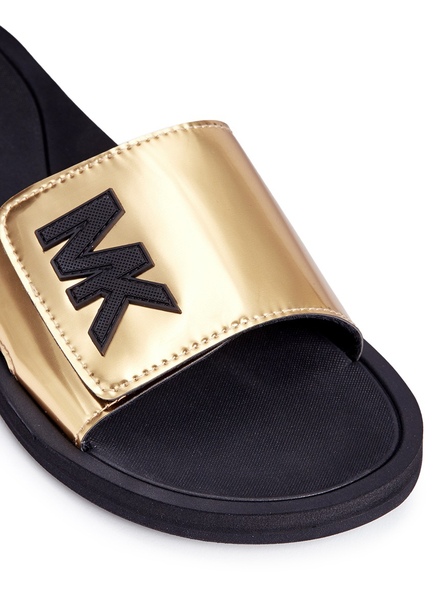 Michael Kors Mk Logo Metallic Strap Slide Sandals In