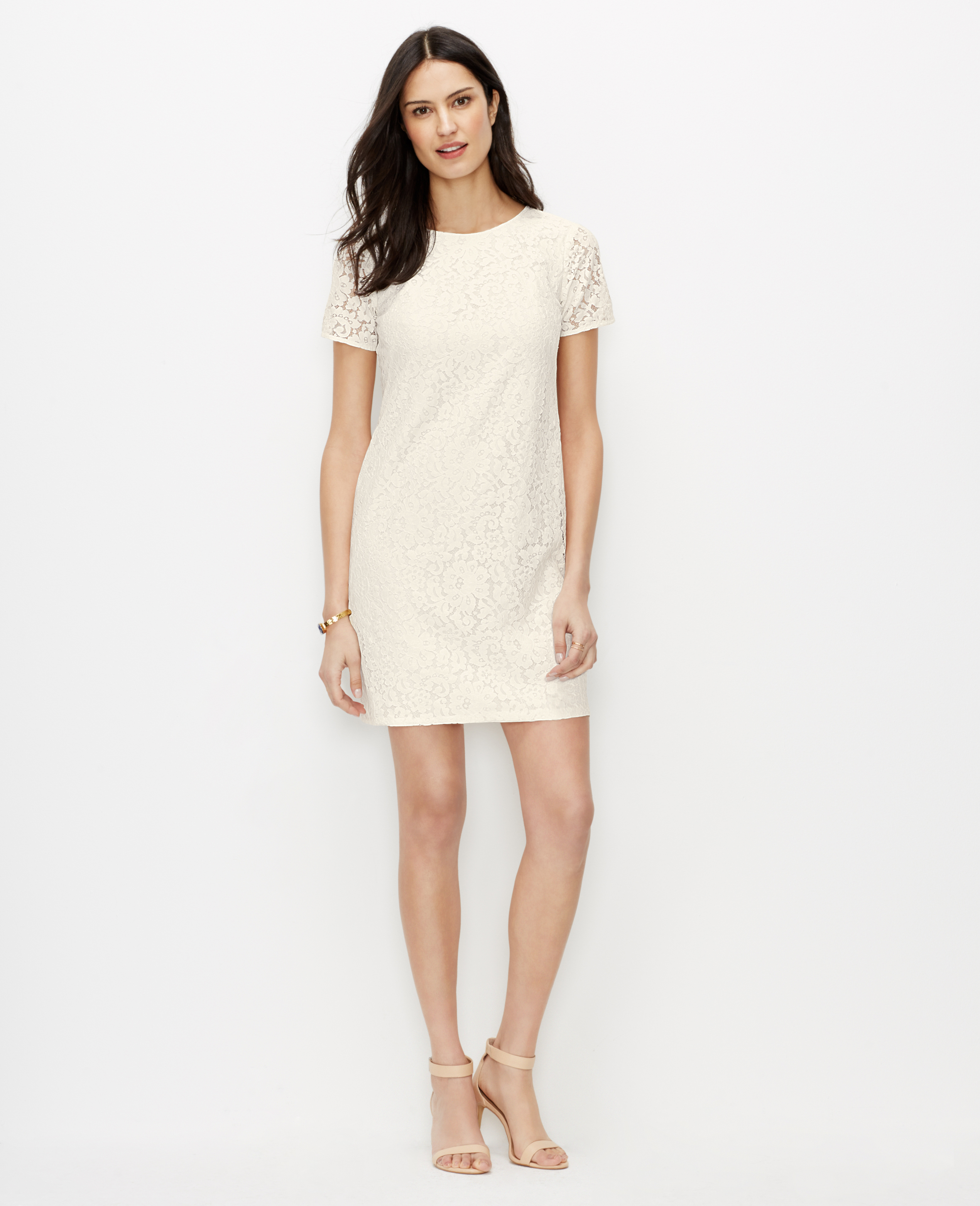 44b6d9df61 Lyst - Ann Taylor Petite Lace Shift Dress in White