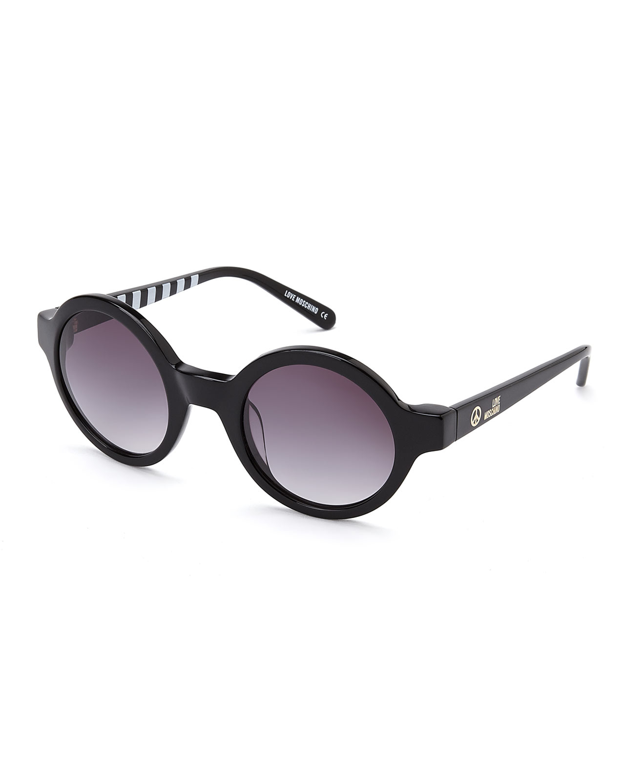 4c32fa9b0cc Lyst - Love Moschino Ml50101 Black Round Sunglasses in Black