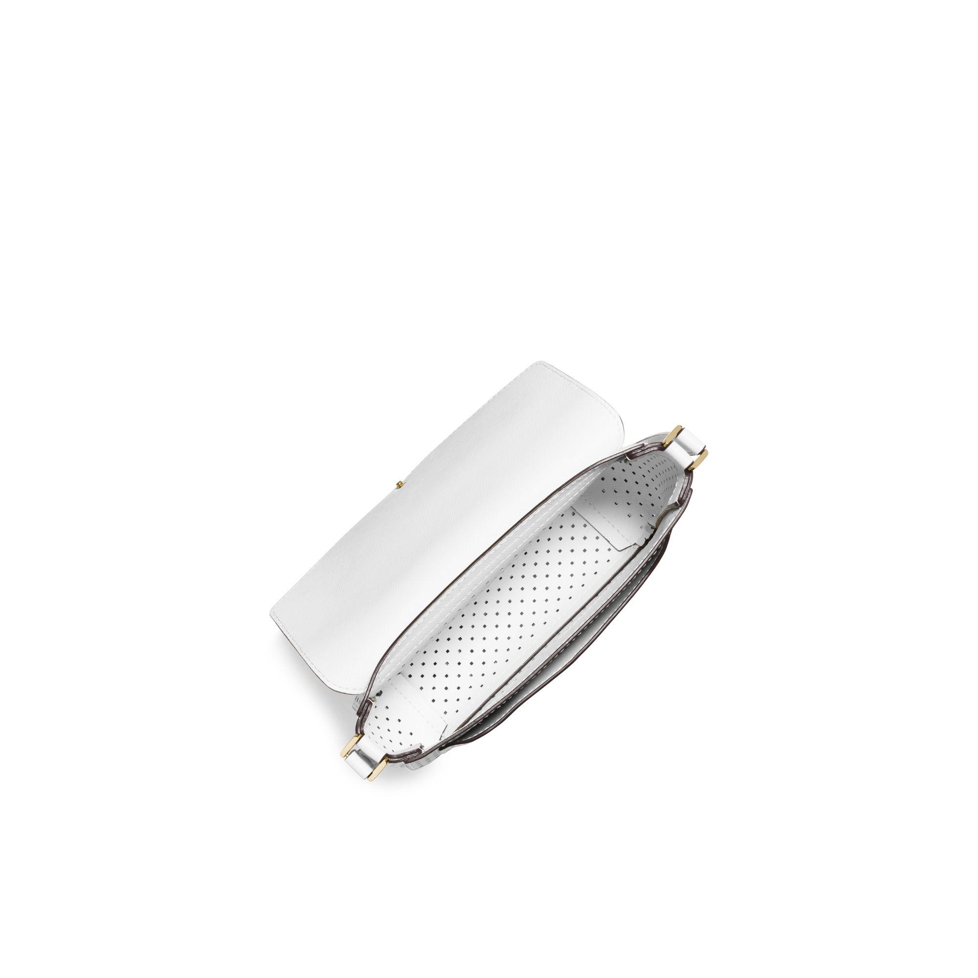 8694145474e1 Michael Kors Greenwich Small Saffiano Leather Crossbody in White - Lyst