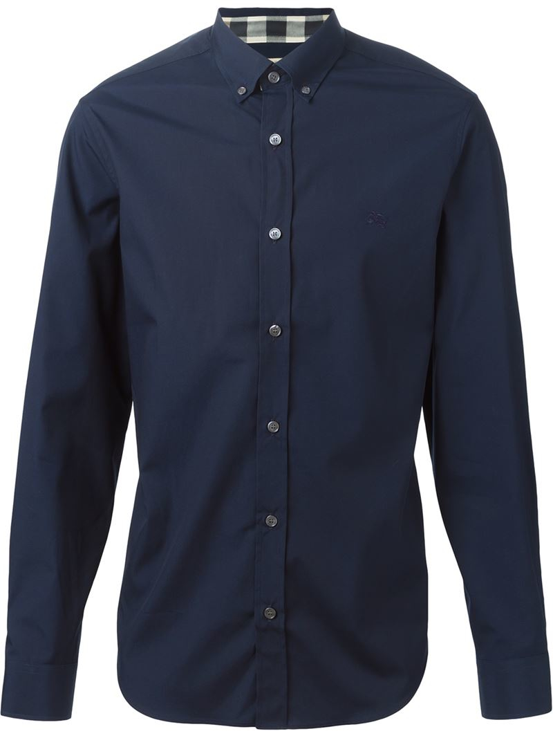 Burberry brit classic button down shirt in blue for men lyst for Mens big and tall burberry shirts