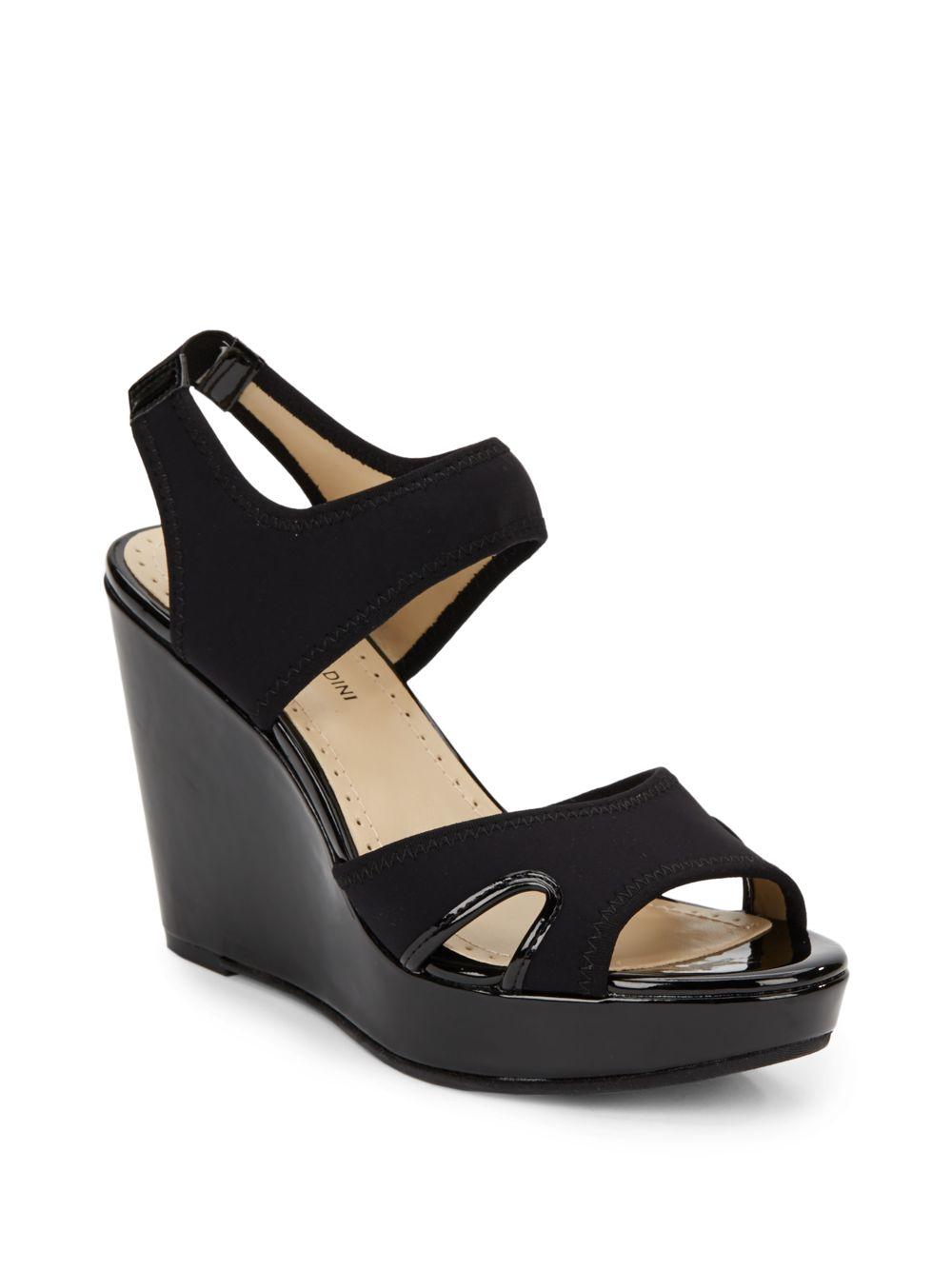 eedc1c5962b Lyst - Adrienne Vittadini Clover Stretch Platform Wedge Sandals in Black