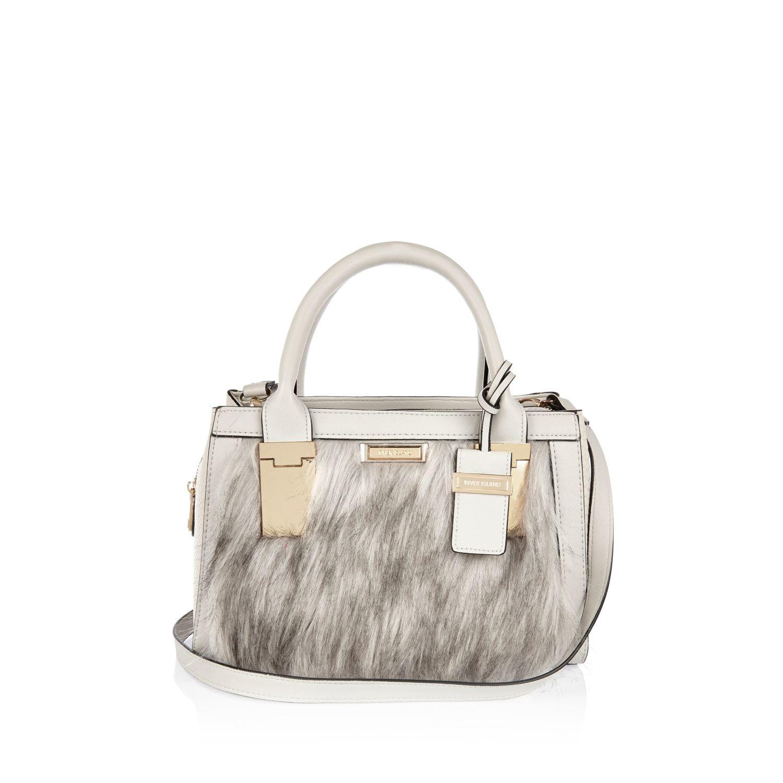 7ccbbe314cc00 River Island Cream Mini Faux Fur Tote Handbag in Natural - Lyst