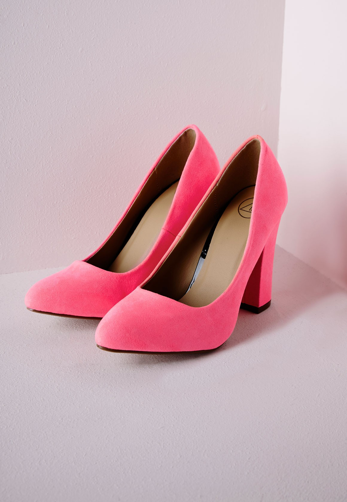 Lyst - Missguided Block Heel Court Shoes Neon Pink in Pink