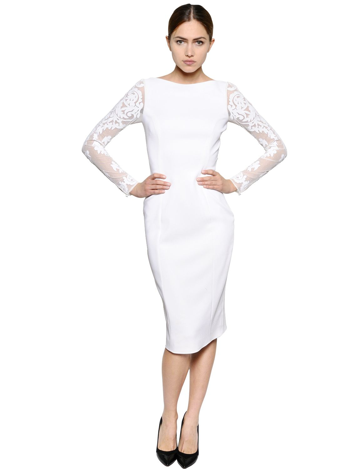 Lyst Temperley London Lace Stretch Cady Pencil Dress In White