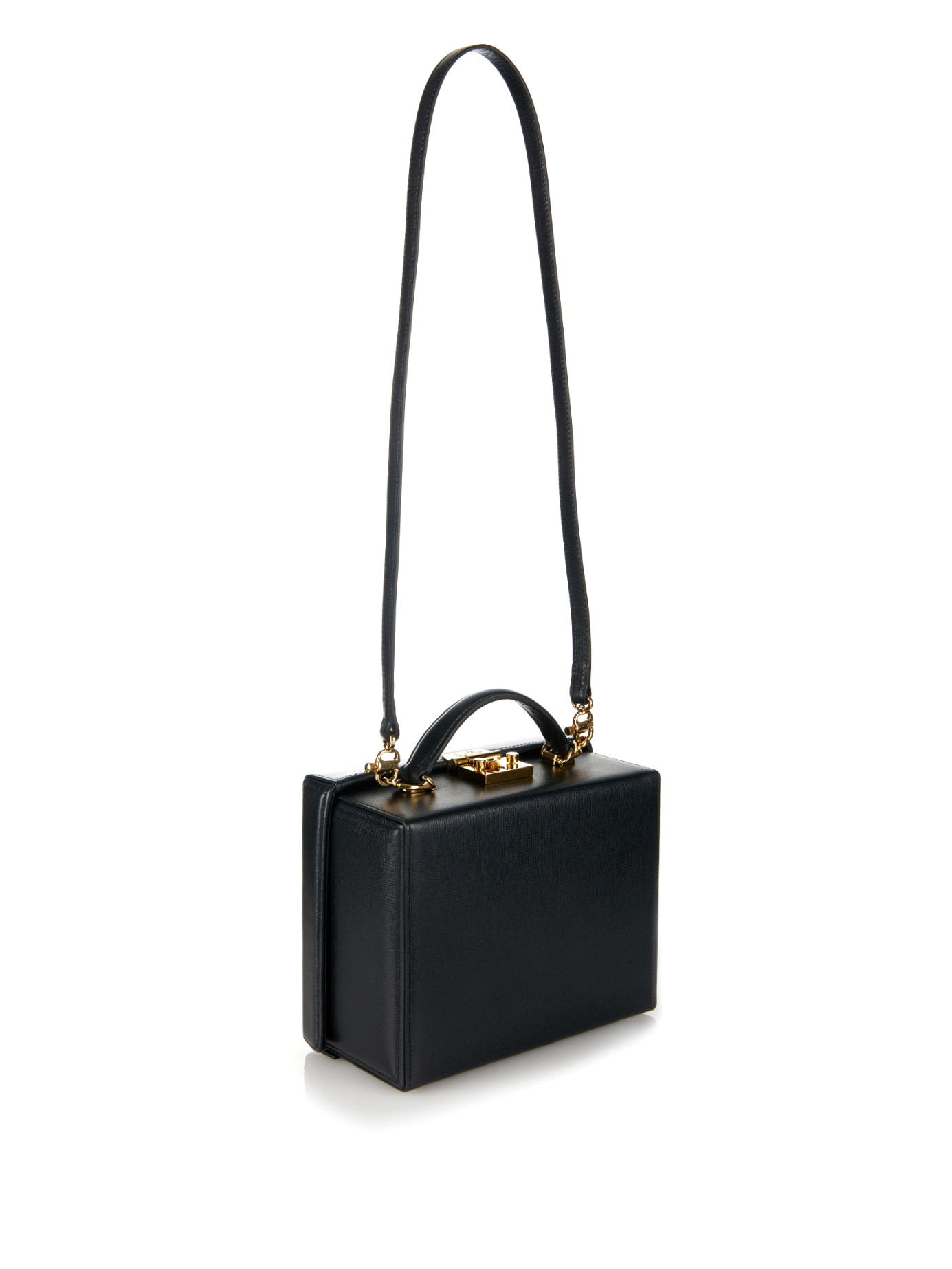 c351cb3786eaf Mark Cross Grace Large Leather Box Bag in Black - Lyst