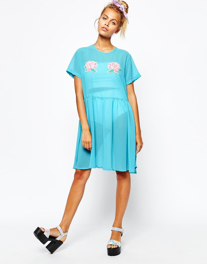 lazy oaf sheer tshirt dress with flower detail in blue lyst