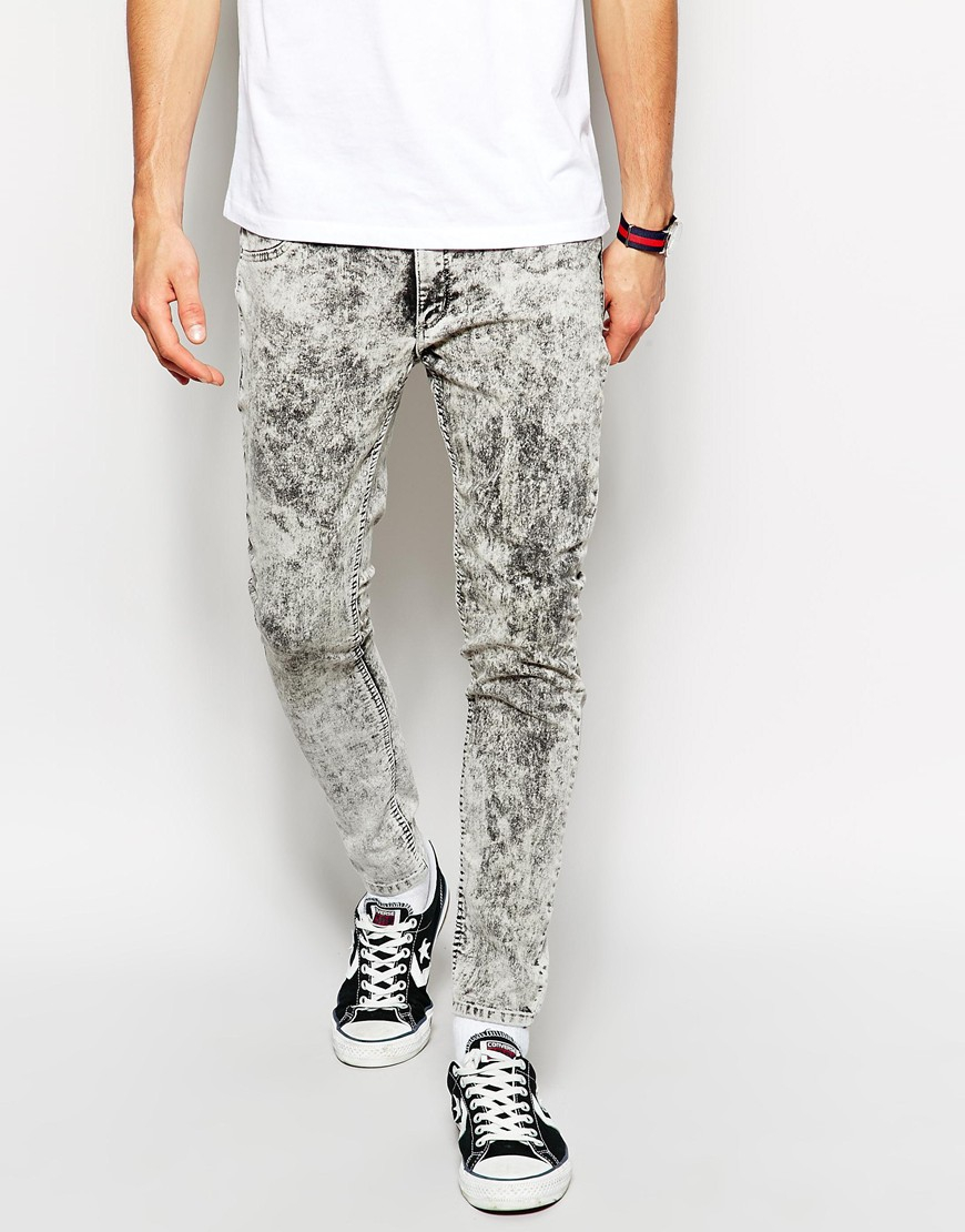 Cheap monday Jeans Low Spray Super Skinny Master Ice Acid Wash in ...