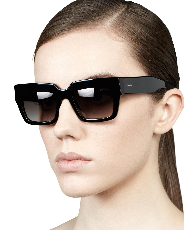 f760246b7aa ... low price lyst prada poem catwalk square sunglasses in black bbb14 54a85