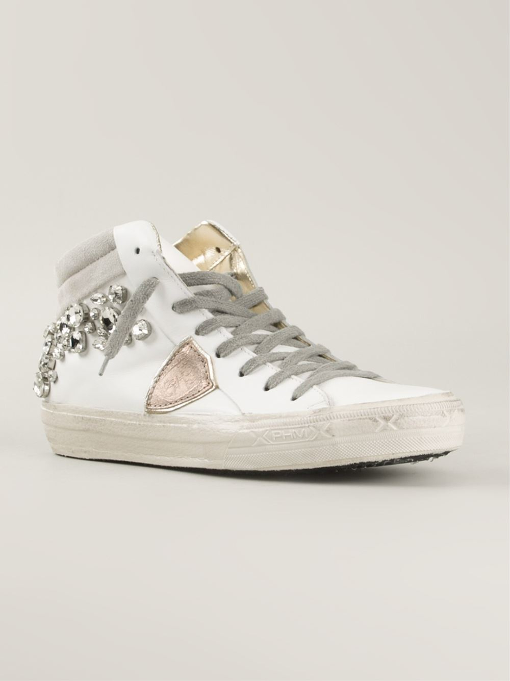 philippe model embellished hi top sneakers in white lyst. Black Bedroom Furniture Sets. Home Design Ideas