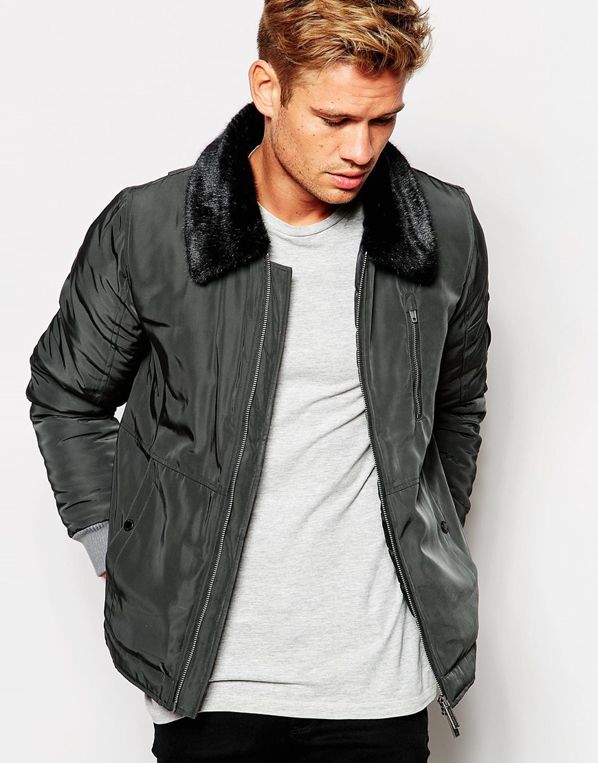 Native youth Flight Jacket With Faux Fur Collar in Black for Men ...