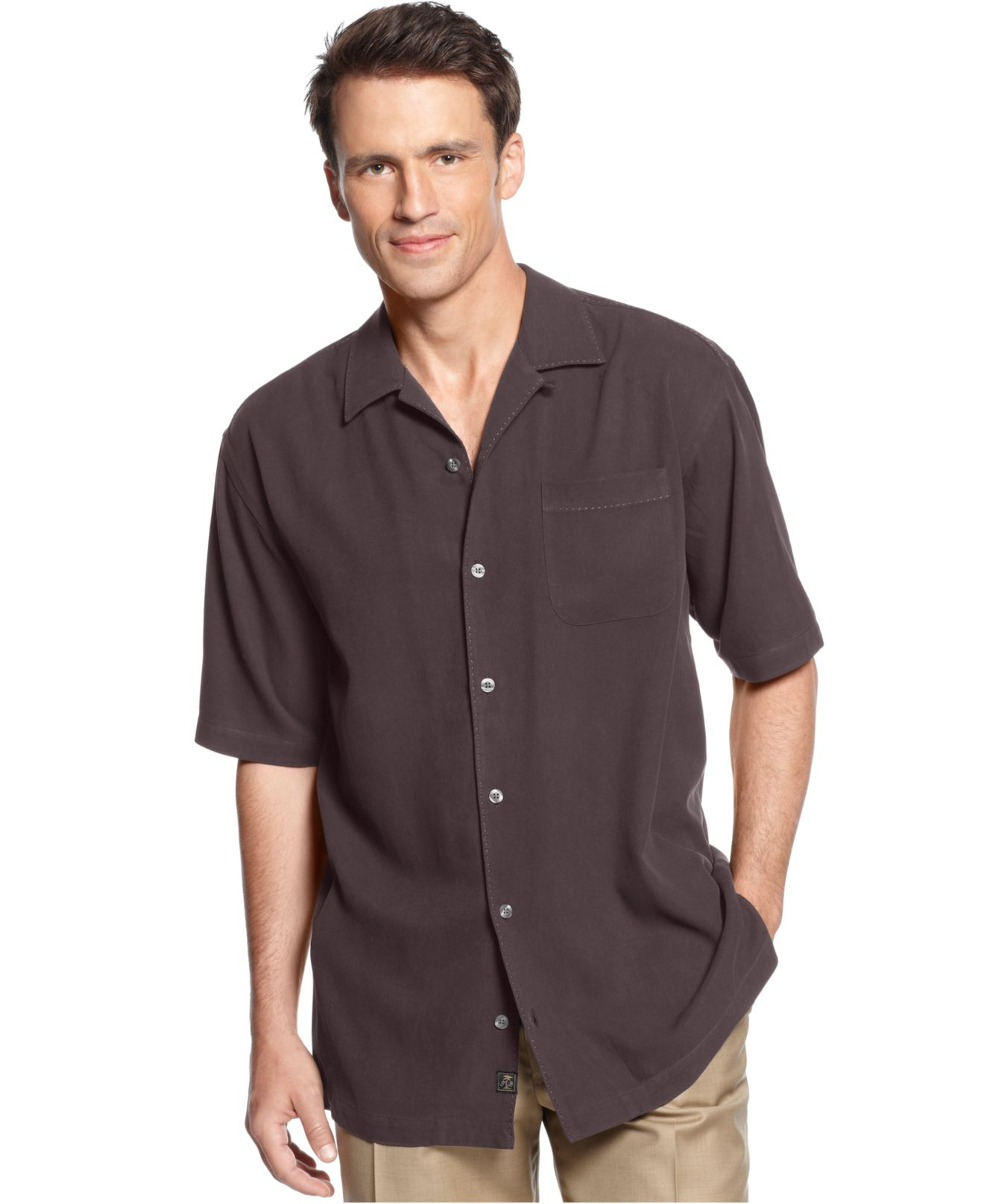 Tommy Bahama Catalina Silk Shirt In Brown For Men Lyst
