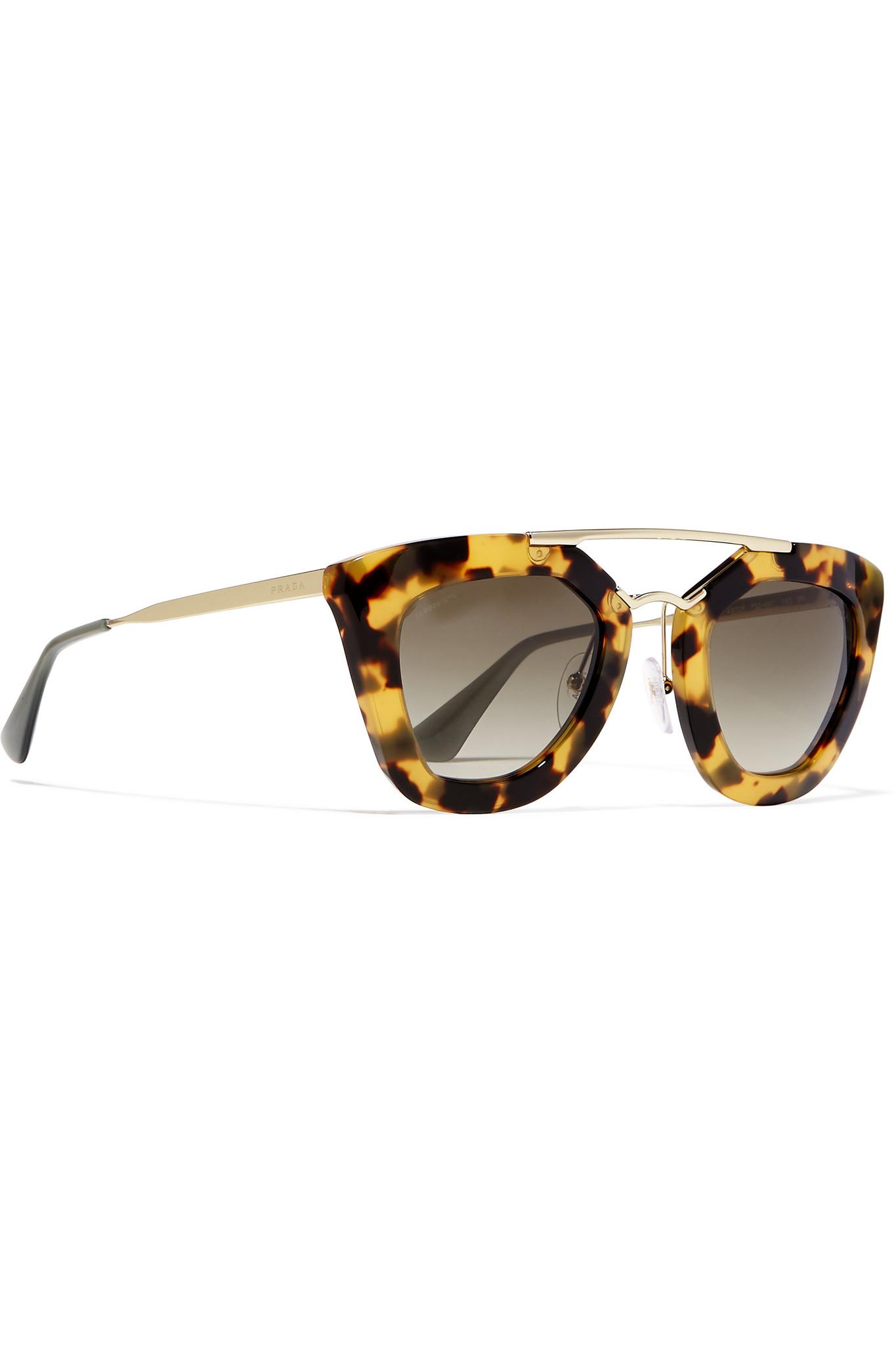 e3289bee0e Lyst - Prada D-frame Acetate And Gold-tone Sunglasses in Brown