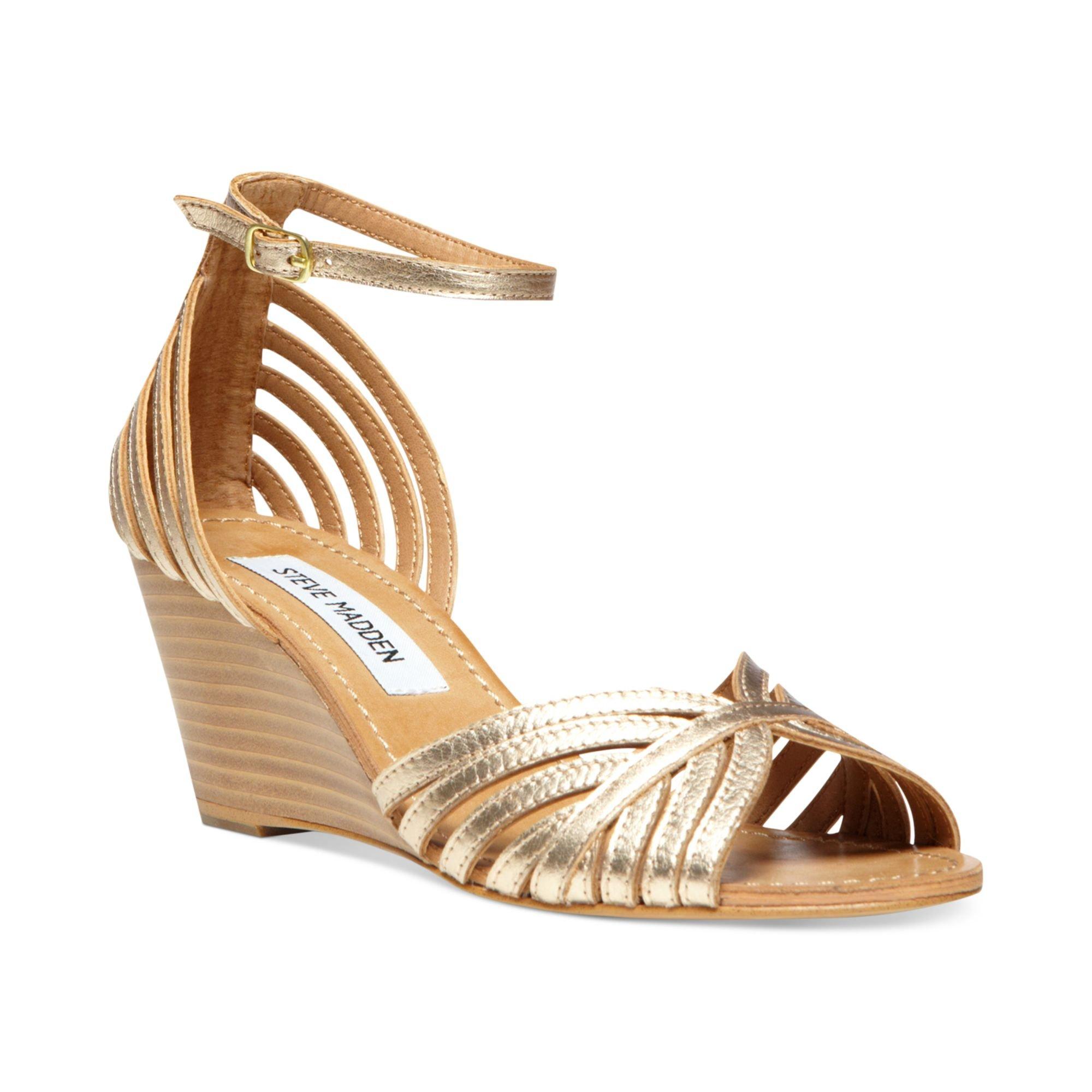 Steve Madden Womens Lexii Demi Wedge Sandals In Gold Lyst