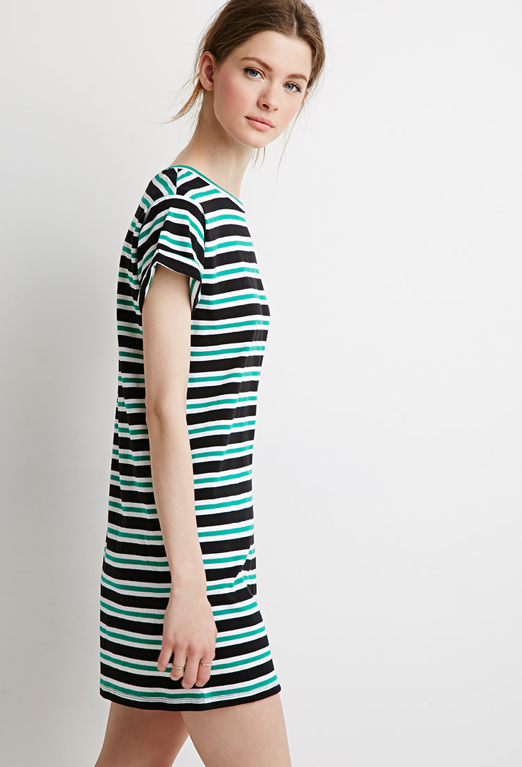 Forever 21 Contemporary Striped T Shirt Dress In Green Lyst