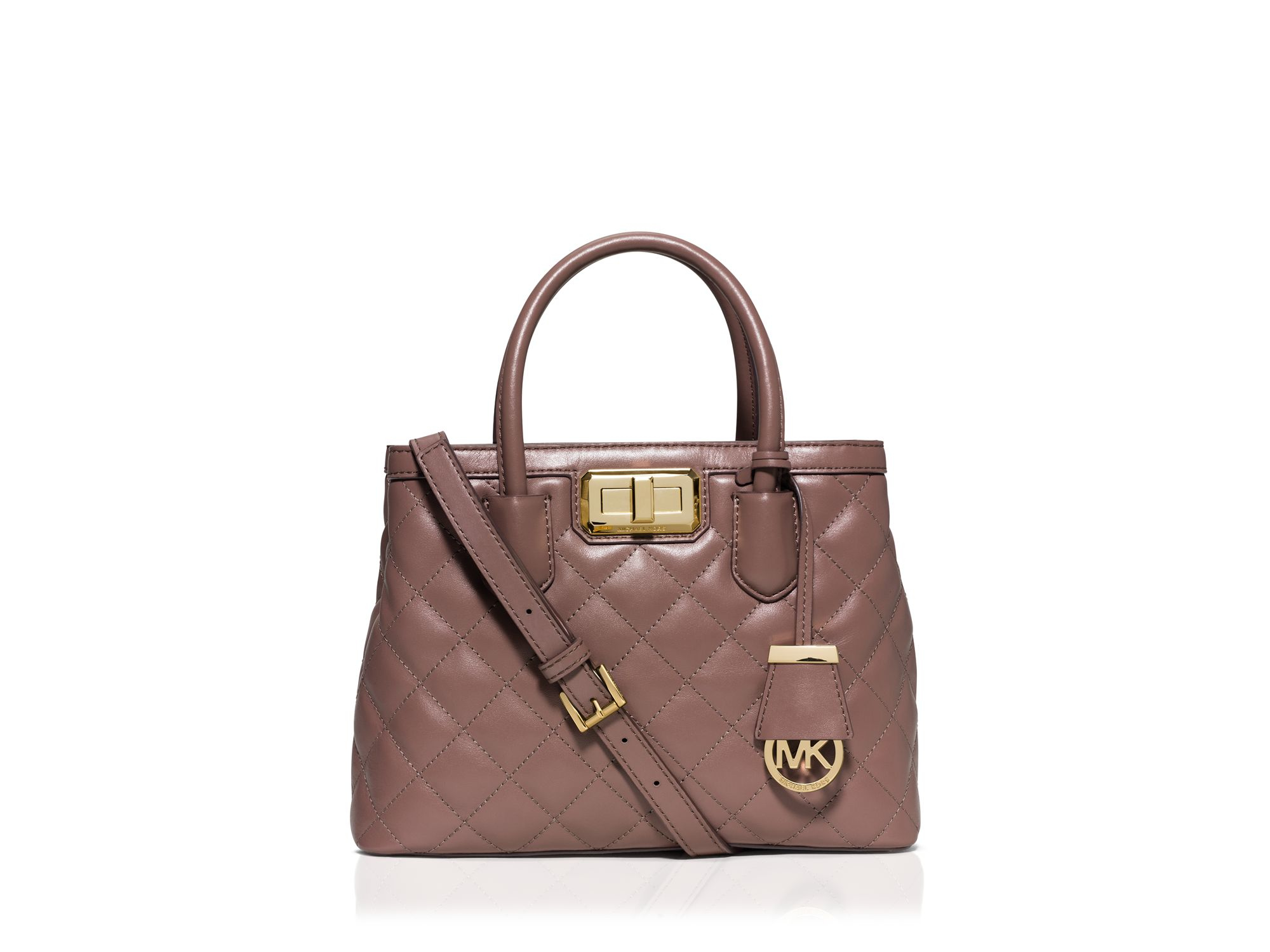 michael michael kors hannah small satchel in pink dusty rose lyst. Black Bedroom Furniture Sets. Home Design Ideas