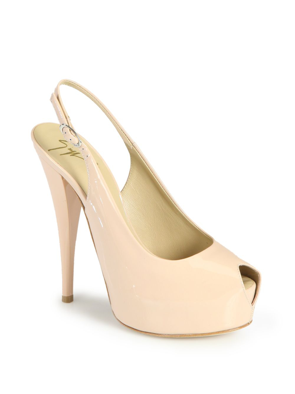 Giuseppe Zanotti Glossy Nude Patent Heels in Natural - Lyst
