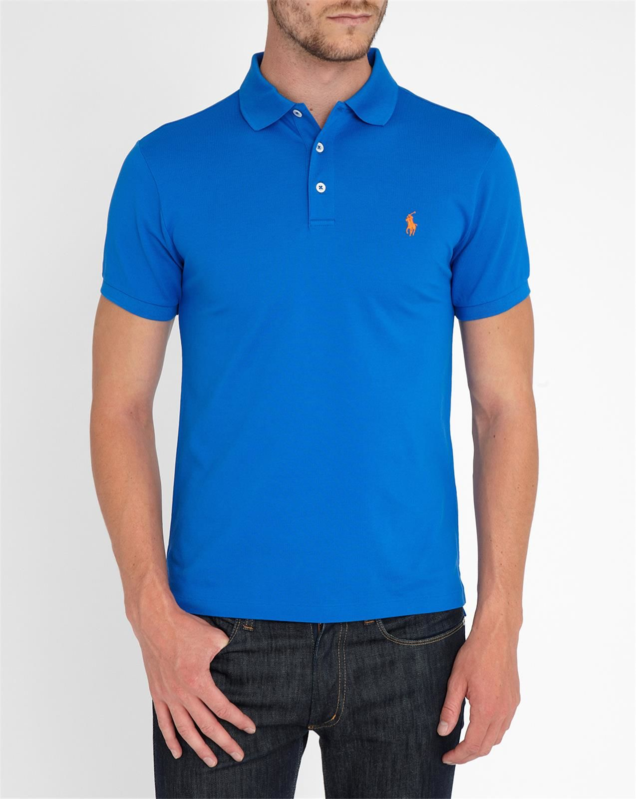 Polo ralph lauren royal blue stretch slim fit polo shirt Man in polo shirt
