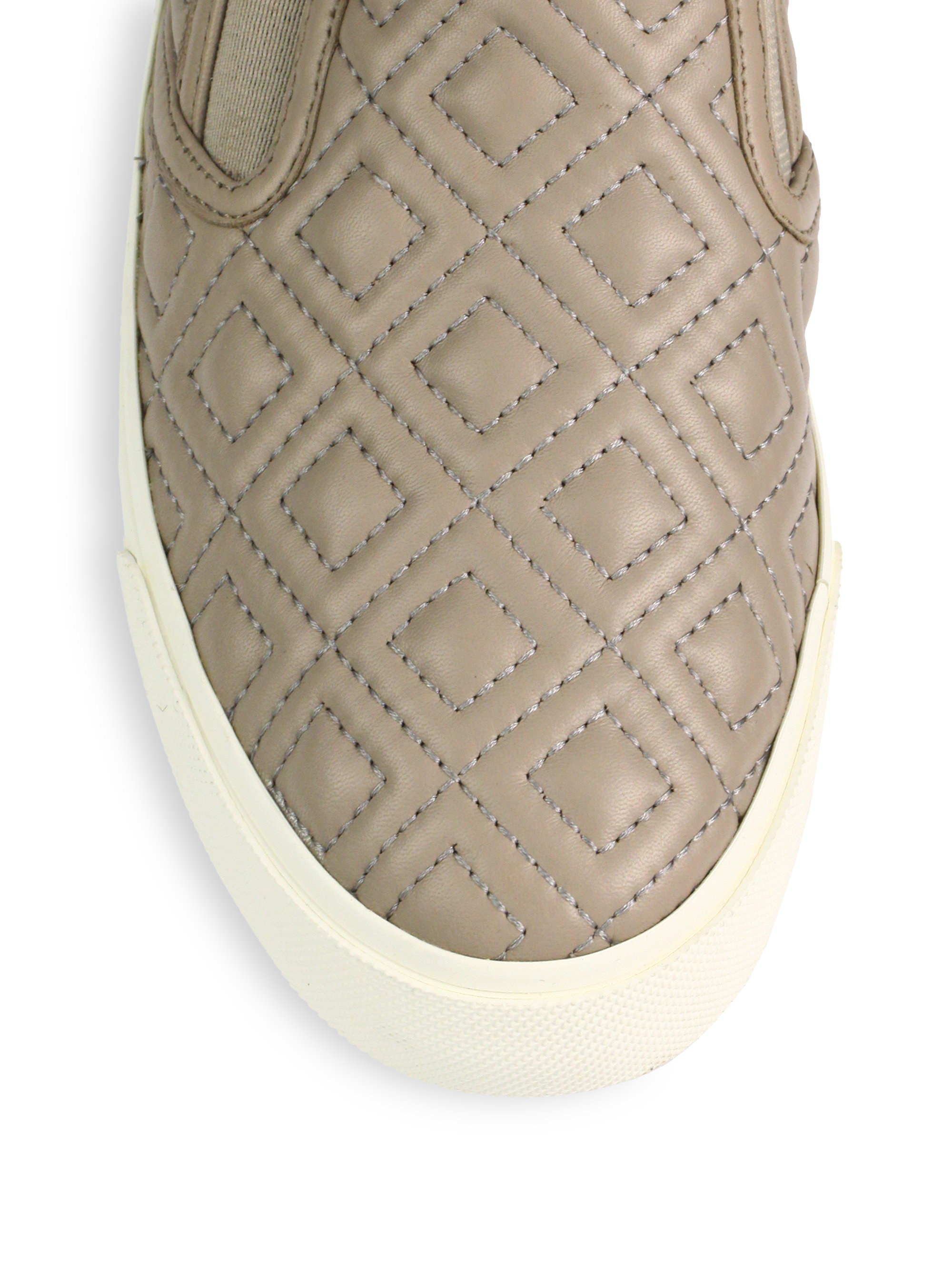 Tory Burch Jesse Quilted Leather Slipon Sneakers In Beige