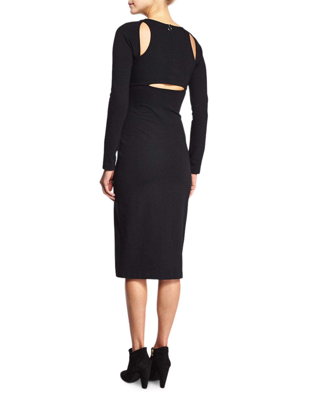 T By Alexander Wang Ponte Cutout Sheath Dress In Black