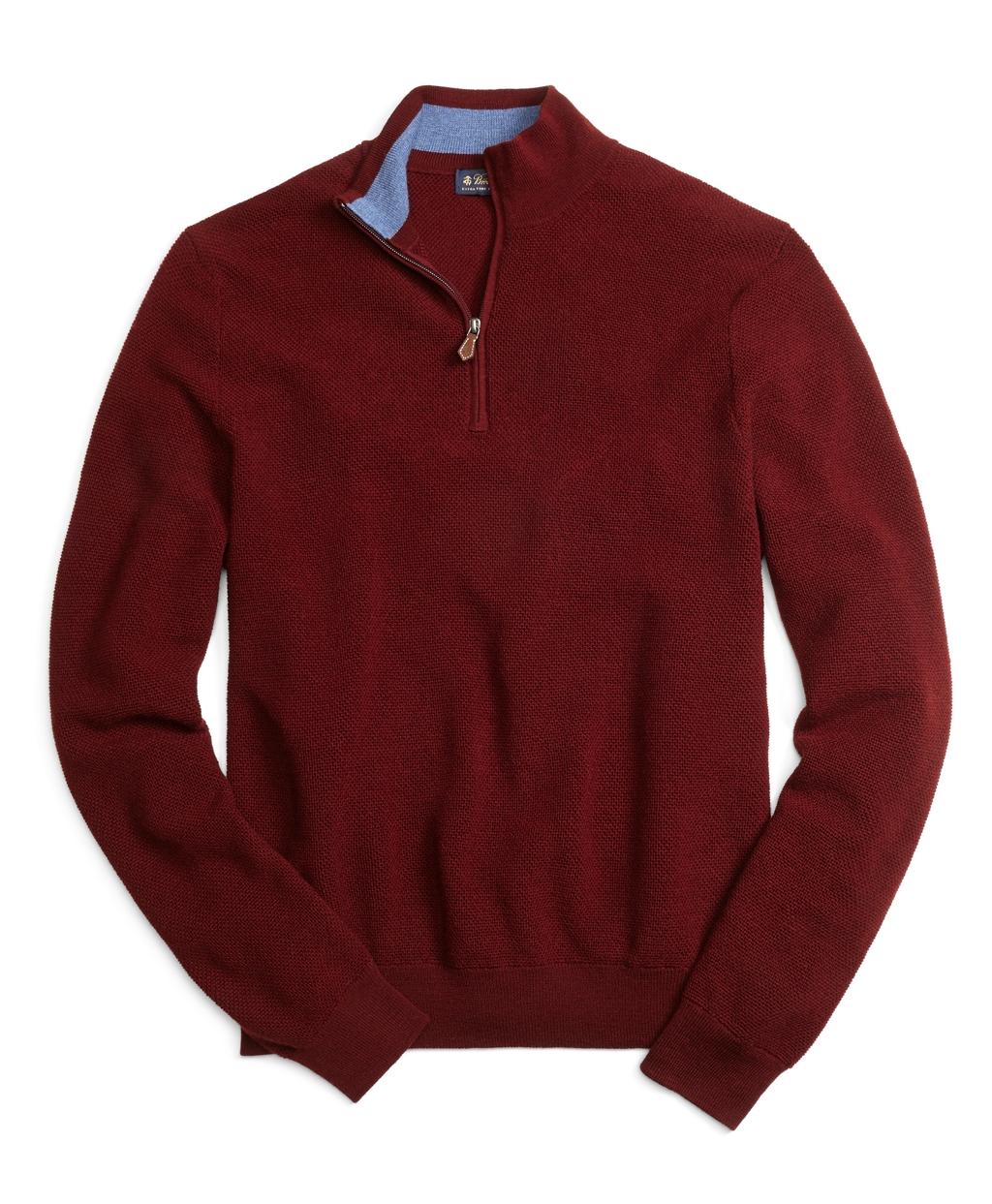 Brooks brothers Merino Wool Half-zip Sweater in Purple for Men | Lyst