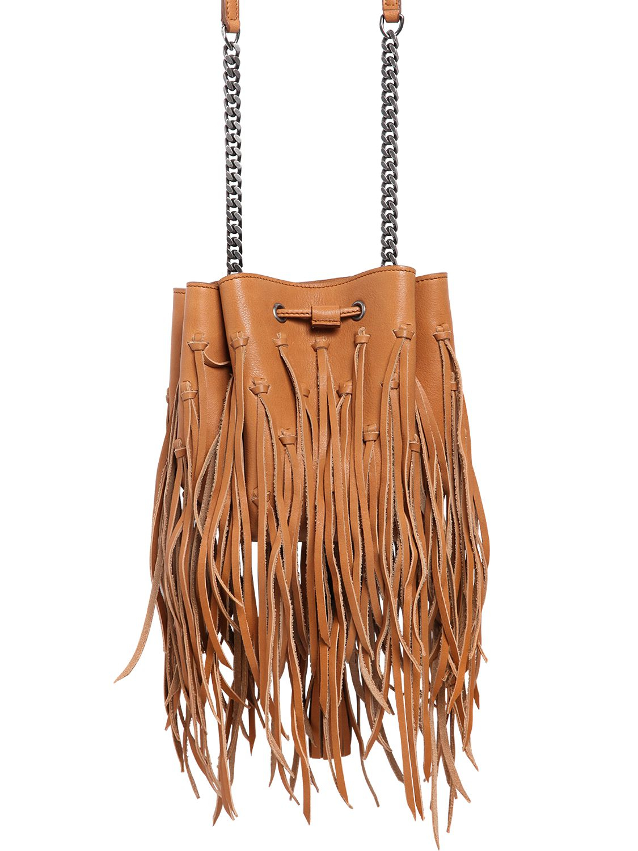 Saint laurent Ysl Pendant Fringed Leather Bucket Bag in Brown ...
