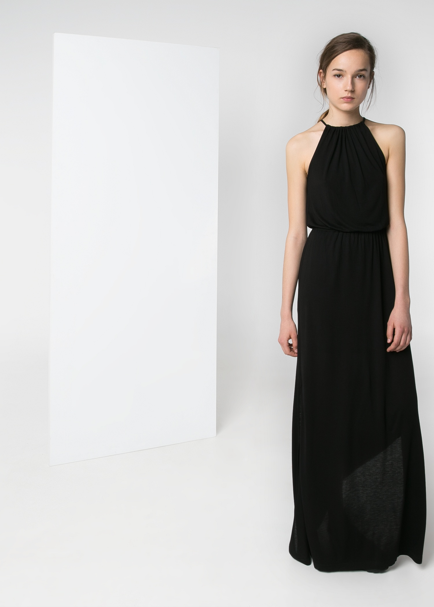 Lyst Mango Halter Long Dress In Black