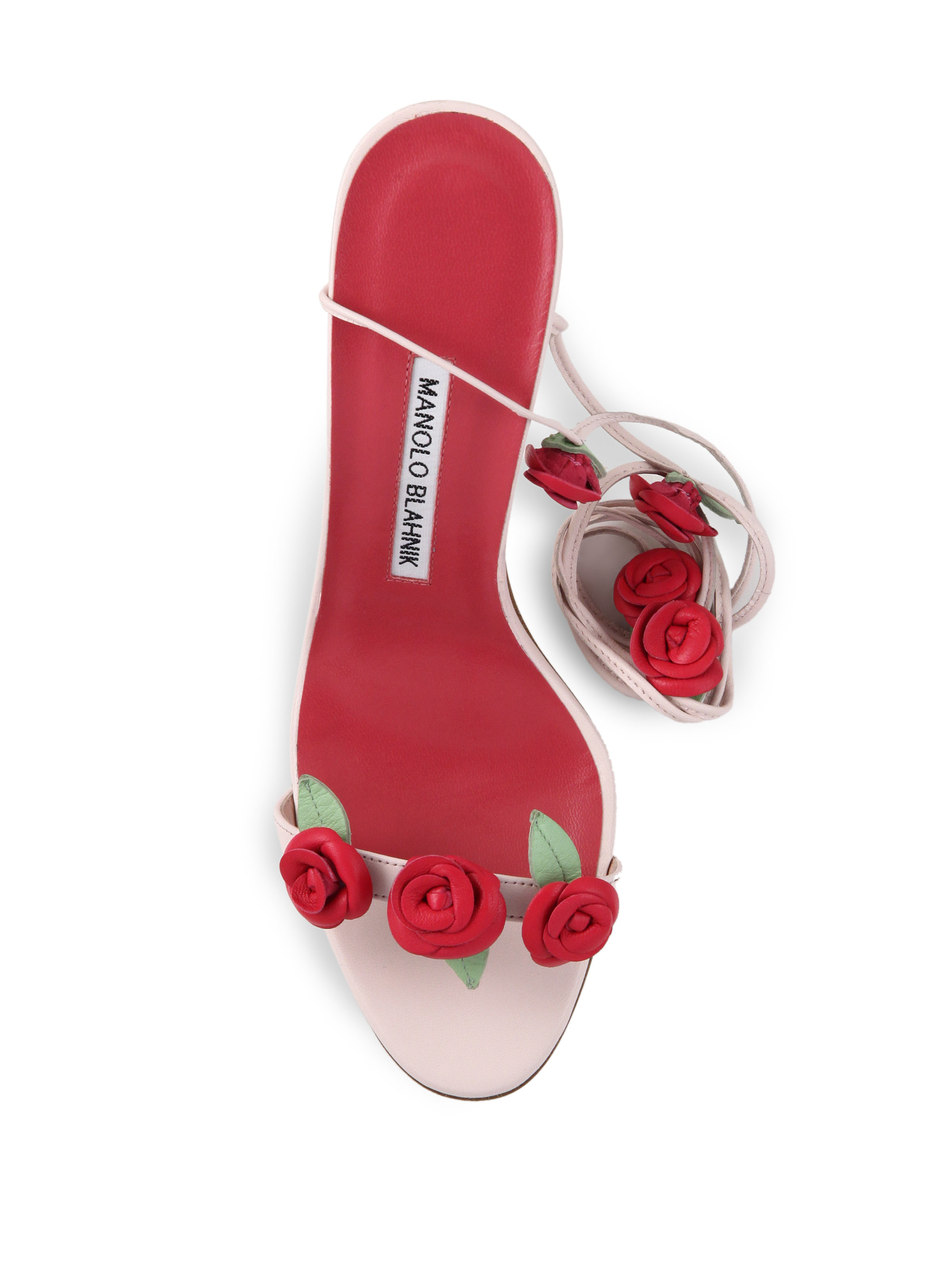 Lyst manolo blahnik leather rose detail lace up sandals for Who is manolo blahnik