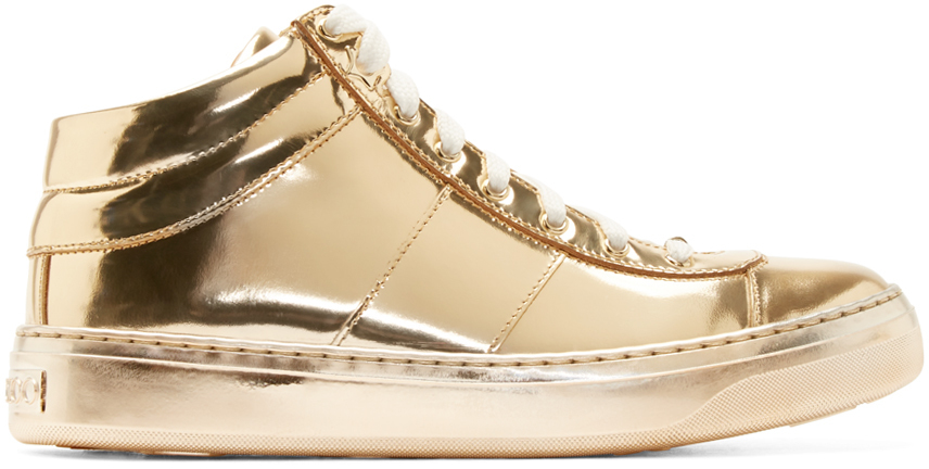lyst jimmy choo gold leather sneakers in metallic rh lyst com jimmy choo rose gold sneakers jimmy choo rose gold sneakers