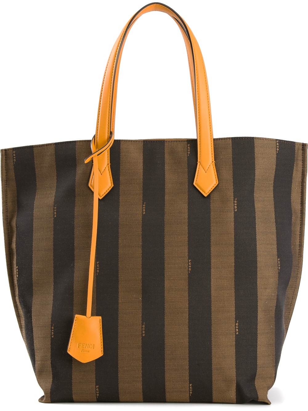 3bfe2d143458 ... get lyst fendi all in penguin striped tote in brown 37669 c153a
