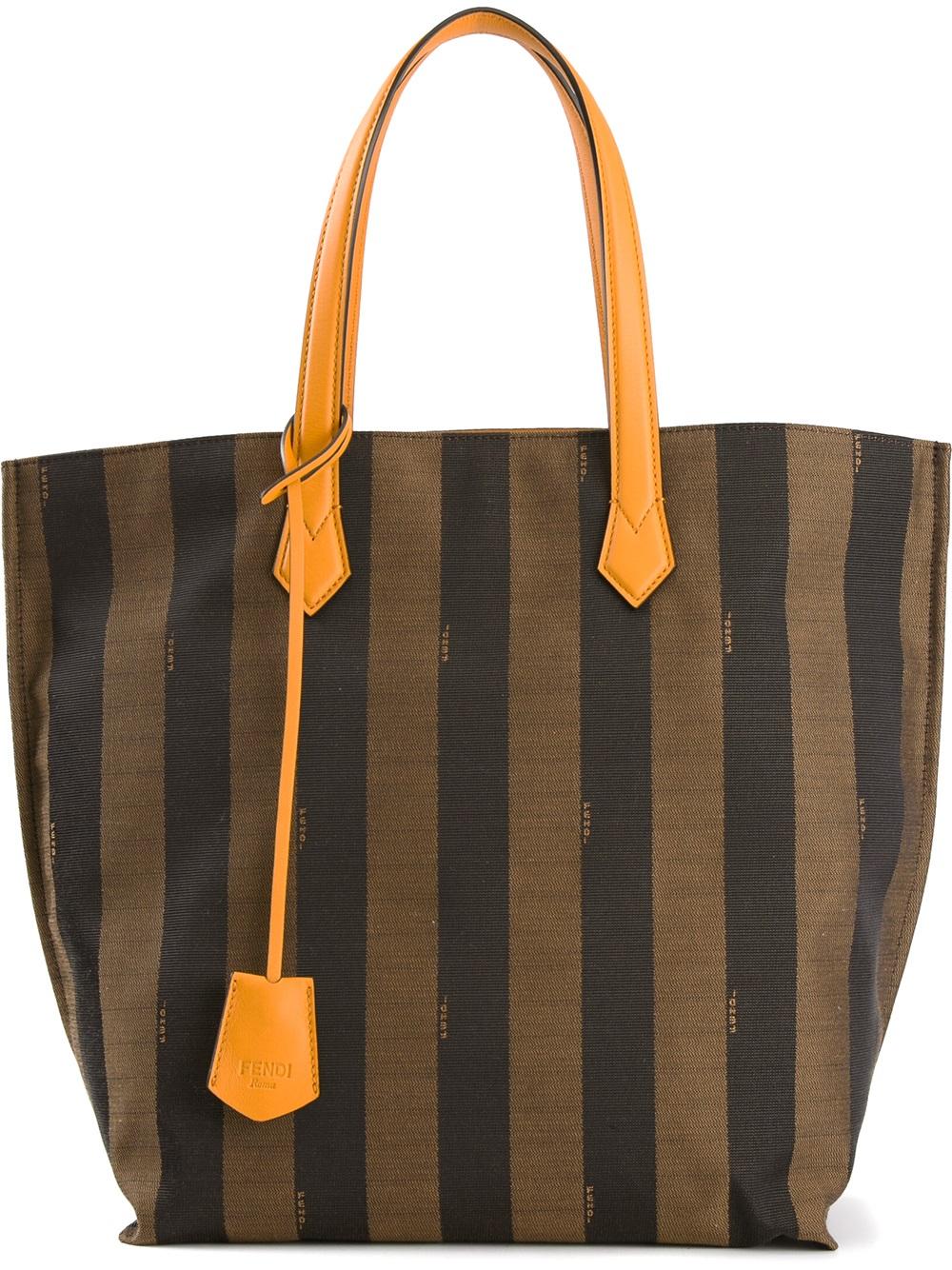 0d409309ef ... get lyst fendi all in penguin striped tote in brown 56d1f 8aca6