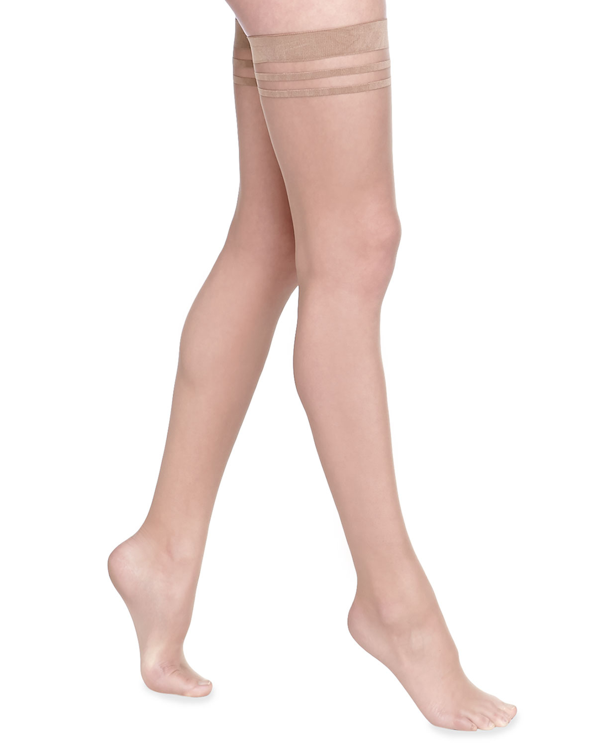 fba87cd03 Alice + Olivia Opaque Thigh-high Stockings in Natural - Lyst