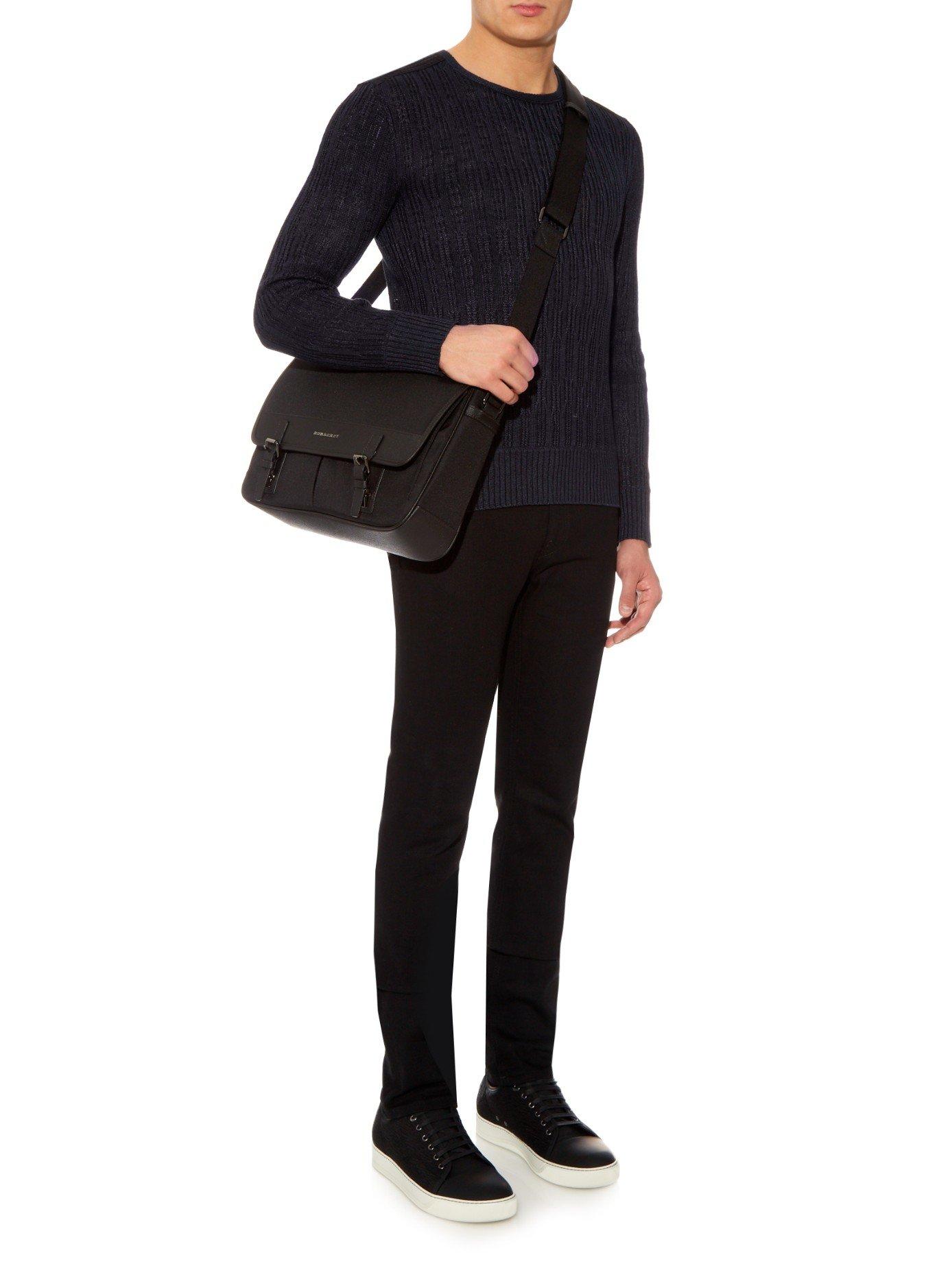 Lyst - Burberry Leather Trimmed Nylon Messenger Bag in Black for Men ada78f12049c3