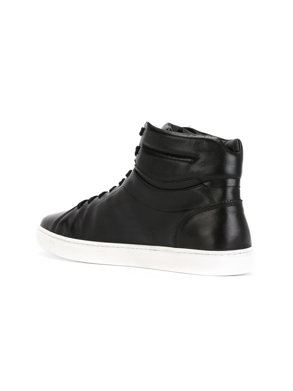 lyst dolce gabbana leather sneakers in black for men. Black Bedroom Furniture Sets. Home Design Ideas