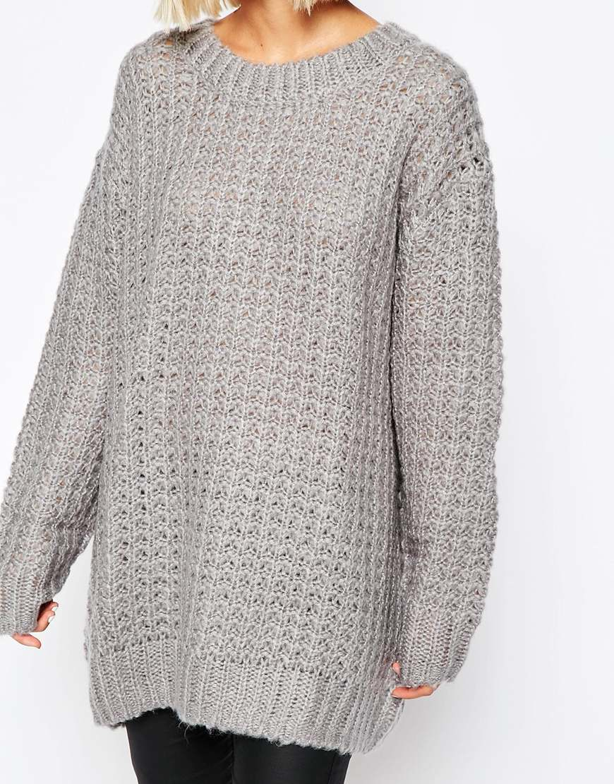 Oversized Jumper Knitting Pattern : Cheap monday Chunky Oversize Knit Jumper in Gray Lyst