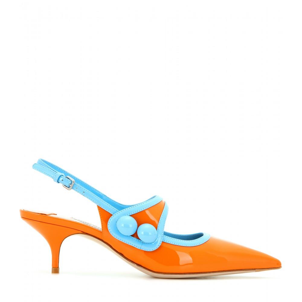 Orange Kitten Heel Shoes