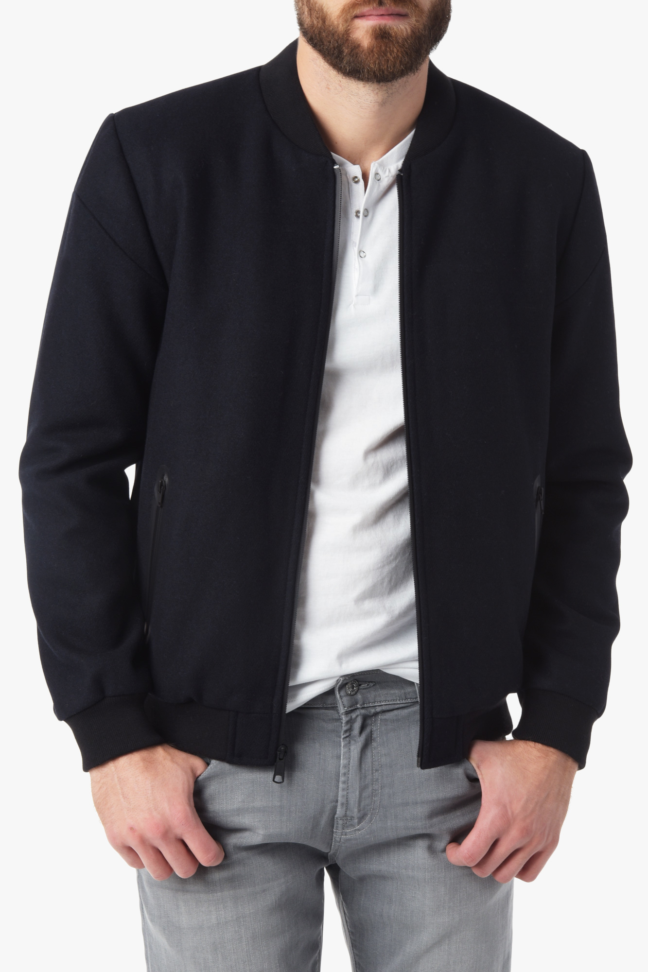 Lyst 7 For All Mankind Wool Bomber Jacket In Navy In