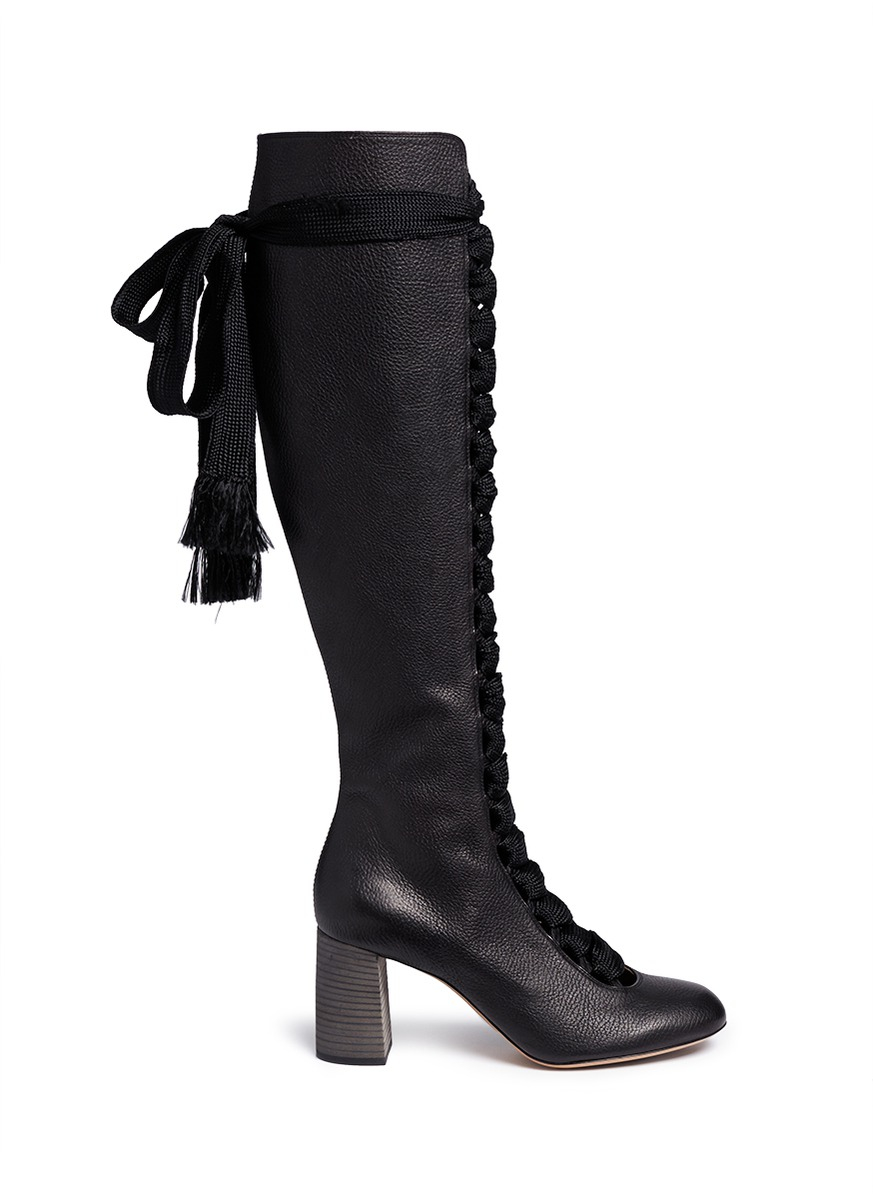 chlo 233 lace up knee high leather boots in black lyst