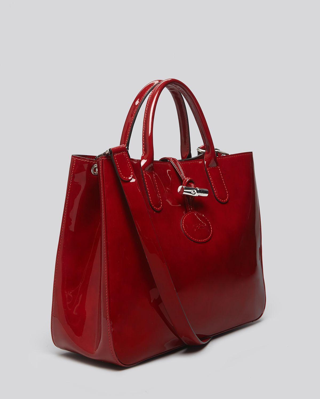 longchamp tote medium roseau box in red lyst