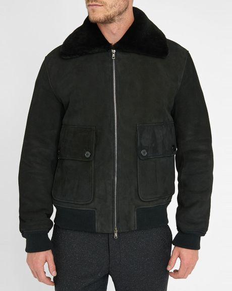 carven black sheepskin jacket in black for men noir lyst