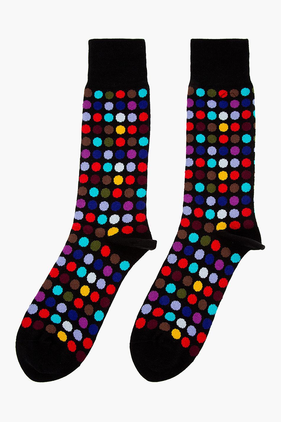 Paul Smith Black Multicolor Polka Dot Socks In Black For