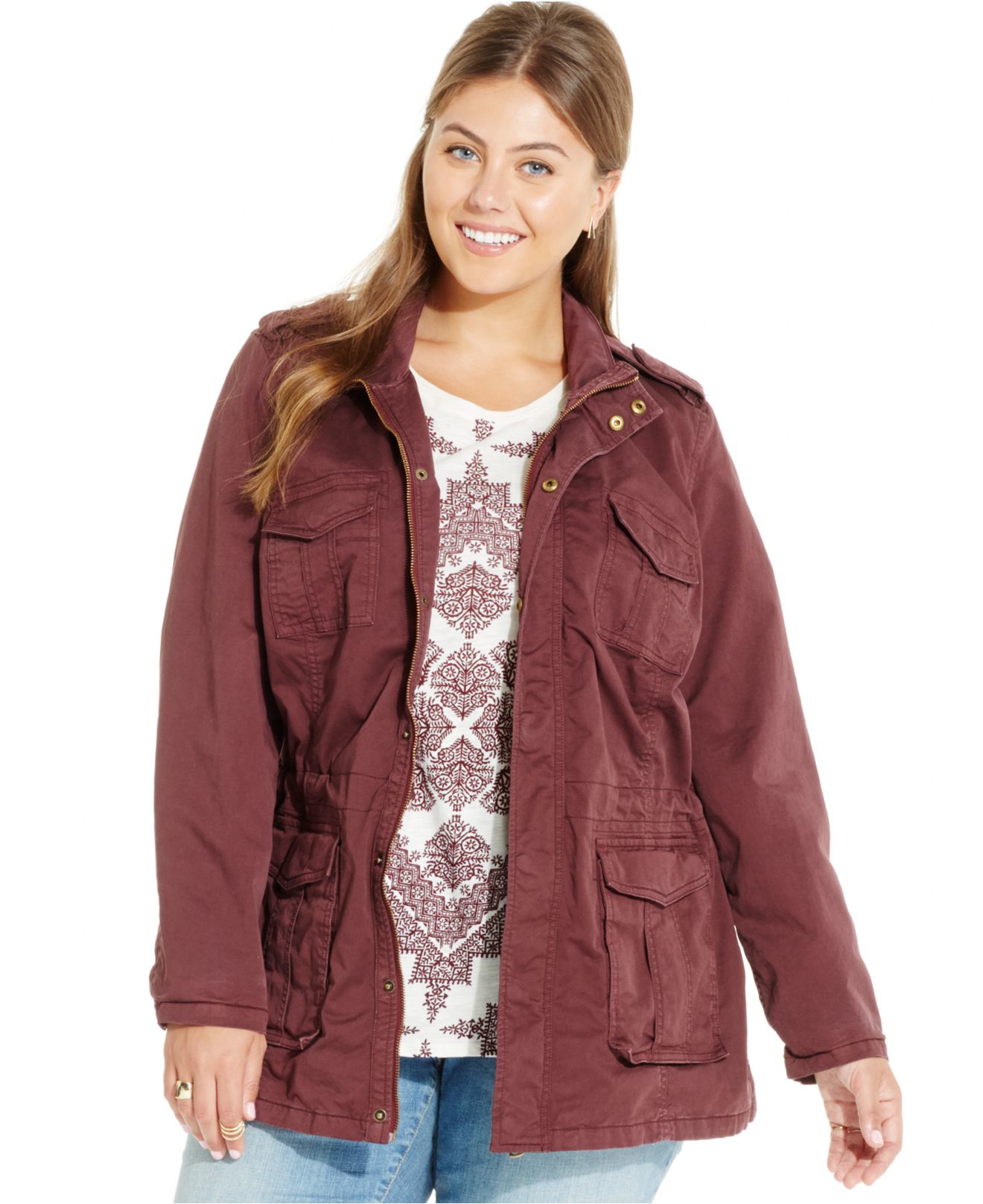 lucky brand lucky brand plus size cotton anorak jacket in purple