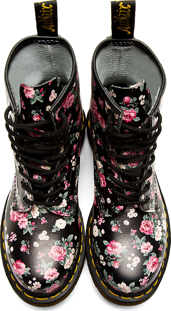 Lyst Dr Martens Black Floral Print 8 Eye Ankle Boots In